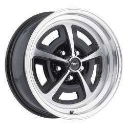 Wheels - 17 Inch - Scott Drake - 64 - 73 Mustang 17x7 Magnum 500 Alloy Wheel- Gloss Black/ Machined