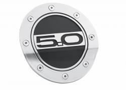 Fuel System - Caps & Doors - Drake Muscle Cars - 15 - 16 Mustang 5.0 Silver/Black Fuel Door