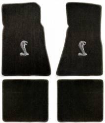 Carpet & Related - Floor Mat Sets - Lloyd Mats - 65 - 73 Mustang BLACK Convertible Floor Mats, Cobra Snake