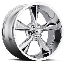 "Wheels - 15 Inch - Voxx - 64 - 73 Mustang Old School Chrome Wheel 15 X 7 , 3.75"" bs, Set of 4"
