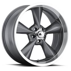 "Wheels - 17 Inch - Voxx - 64 - 73 Mustang Old School Gun Metal Machined Lip Wheel 17 X 7 , 4.00"" bs, Set of 4"