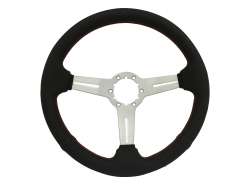 "Steering Wheel & Related - Steering Wheels - Stang-Aholics - 84 - 89 Mustang 14"" Volante 6 Bolt STEERING WHEEL KIT, Brushed, Red Stitch Perf"