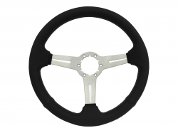 "Stang-Aholics - 84 - 89 Mustang 14"" Volante 6 Bolt STEERING WHEEL KIT, Brushed, Black Stitch Perf"