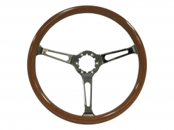 "Stang-Aholics - 64 - 73 Mustang 15"" Volante 6 Bolt STEERING WHEEL KIT, Wood Chrome"