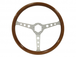 "Steering Wheel & Related - Steering Wheels - Stang-Aholics - 84 - 89 Mustang 15"" Volante 6 Bolt STEERING WHEEL KIT, Brushed, Wood"