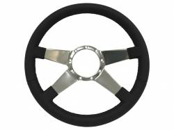 "Stang-Aholics - 64 - 73 Mustang 14"" Volante 9 Bolt STEERING WHEEL KIT, Black Leather, Solid 4 Spoke"