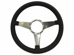 "Stang-Aholics - 64 - 73 Mustang 14"" Volante 9 Bolt STEERING WHEEL KIT, BLK Leather, Solid Spoke"