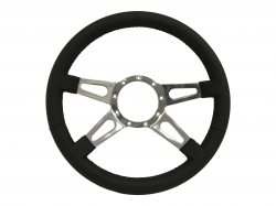 "Steering Wheel & Related - Steering Wheels - Stang-Aholics - 64 - 73 Mustang 14"" Volante 9 Bolt STEERING WHEEL KIT, GT, 4 Slotted Spokes"