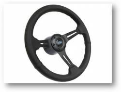 "Stang-Aholics - 65 - 89 Mustang 14"" Volante Steering Wheel Kit, Blk Leather, Blk Center, Blue Oval"