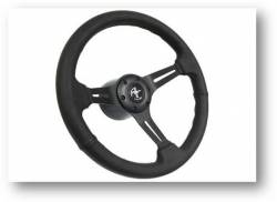"Steering Wheel & Related - Steering Wheels - Stang-Aholics - 65 - 89 Mustang 14"" Volante Steering Wheel Kit, Blk Leather, Blk Center, Pony"