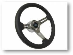"Steering Wheel & Related - Steering Wheels - Stang-Aholics - 65 - 89 Mustang 14"" Volante Steering Wheel Kit, Blk Leather, Chrome Center, Blue Oval"