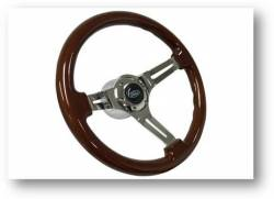 "Stang-Aholics - 65 - 89 Mustang 14"" Volante Steering Wheel Kit, Wood, Chrome Center, Blue Oval"