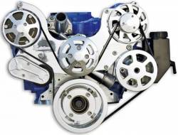 Engine - Engine Pulleys & Brackets - Eddie Motor Sports - 64 - 70 Mustang Serpentine Pulley Kit 289-351W, NO AC, Plastic Attached PS Res