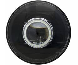Electrical & Lighting - Headlights - Stang-Aholics - Classic Mustang 7 Inch Round Black Projector Headlight with LED Halo