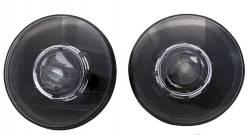 """Electrical & Lighting - Headlights - Stang-Aholics - 65 - 68, 70 - 73 Classic Mustang 7"""" Round Black Projector Headlight w/ Inner Halo Option"""