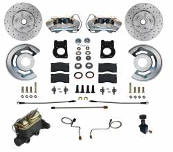 Disc Brakes - Brake Kits - Scott Drake - 1967 - 1969 Mustang  Manual Front Disc Brake Conversion Kit w/ Drilled and Slotted Rotors (V8)