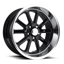 Wheels - 17 Inch - US Mag Wheels - 65 - 73 Mustang Rambler 1 Piece Gloss Black w/ Diamond Cut Lip 17x7 Wheel