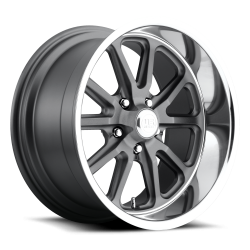 Wheels - 17 Inch - US Mag Wheels - 65 - 73 Mustang Rambler 1 Piece Textured Gray w/ Diamond Cut Lip 17x7 Wheel