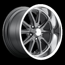 Wheels - 18 Inch - US Mag Wheels - 65 - 73 Mustang Rambler 1 Piece Textured Gray w/ Diamond Cut Lip 18x8 Wheel