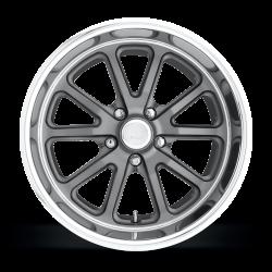 Wheels - 18 Inch - US Mag Wheels - 65 - 73 Mustang Rambler 1 Piece Textured Gray w/ Diamond Cut Lip 18x9.5 Wheel
