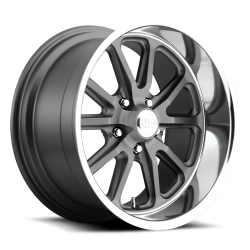 Wheels - 20 Inch - US Mag Wheels - 05 - Up Mustang Rambler 1 Piece Textured Gray w/ Diamond Cut Lip 20x10 Wheel
