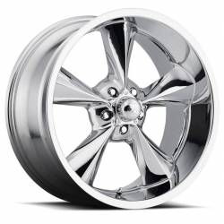 "Wheels - 17 Inch - Voxx - 64 - 73 Mustang Old School Chrome Wheel 17 X 7 , 4.00"" bs, EACH"