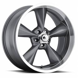 "Wheels - 17 Inch - Voxx - 64 - 73 Mustang Old School Gun Metal Machined Lip Wheel 17 X 7 , 4.00"" bs, EACH"