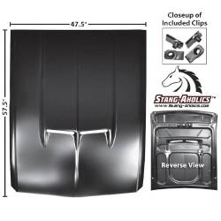 Hood - Reproduction - Dynacorn - 67 - 68 Mustang Steel Hood with 67 dual opening shelby type Scoop