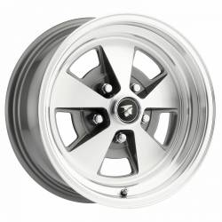 Wheels - 15 Inch - Scott Drake - 67 - 73 Mustang 15 x 7 Legendary Flat 5 Alloy Wheel, 5 on 4.5 BP, 4.25 BS, Charcoal / Machined