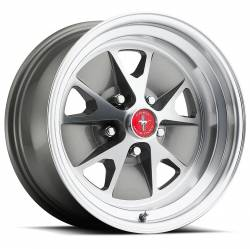 Wheels - 16 Inch - Legendary Wheel Co. - 65 - 67 Mustang 16 x 8 Styled Alloy Wheel, Charcoal / Machined