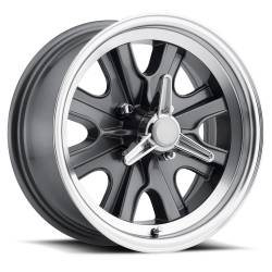 Wheels - 15 Inch - Scott Drake - 15 x 7 Legendary HB44 Alloy Wheel, 4 on 4.5 BP, 4.25 BS, 4 Lug, Charcoal / Machined