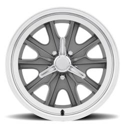 Wheels - 17 Inch - Scott Drake - 17 x 7 Legendary HB45 Alloy Wheel, 5 on 4.5 BP, 4.25 BS, 5 Lug, Charcoal/ Machined