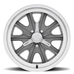 Wheels - 17 Inch - Scott Drake - 17 x 8 Legendary HB45 Alloy Wheel, 5 on 4.5 BP, 4.75 BS, 5 Lug, Charcoal/ Machined