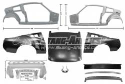 Dynacorn - 67 Mustang Coupe to Fastback Sheet Metal Conversion Kit w/Fiberglass Decklid