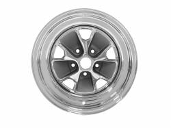 Wheels - 15 Inch - Scott Drake - 65 - 67 Mustang 15 x 7 Styled Steel Wheel, Chrome Plating/Charcoal