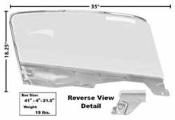 Window Glass - Door Glass - Dynacorn - 65 - 66 Mustang Door Window Clear Glass with Frame, Fastback, LH