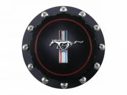 Body - Tail Light Panels - Scott Drake - 64 - 73 Mustang Billet Fuel Cap (Black, Horse Emblem)