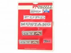 Emblems - Kits - Scott Drake - 1965 Mustang  Emblem Kit GT (All bodystyles 8 Cylinder)
