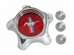 Wheels - Hub Caps & Trim Rings - Scott Drake - 1967 Mustang Styled Steel Hub Cap (Red)