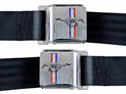 Seats & Components - Seat Belts - Scott Drake - 1964 - 1973 Mustang  Seat Belt Set with Mustang Emblem (Black, Pair)