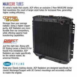 """All Classic Parts - 69-70 Mustang Radiator, V8 302/351 w/o AC (6Cyl 250) LH Out, 20"""" - Copper 3 Row Large Tube - Image 2"""