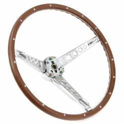 Steering Wheel & Related - Steering Wheels - All Classic Parts - 65-66 Mustang Steering Wheel, Woodgrain Assembly (Includes Horn Ring, Collar & Hardware) - NO HORN CAP