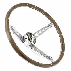 Steering Wheel & Related - Steering Wheels - All Classic Parts - 67 Mustang Steering Wheel, Woodgrain Assembly (Includes Horn Ring, Collar & Hardware) - NO HORN CAP