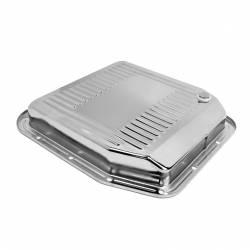 Transmission - Pan - All Classic Parts - 84-93 Mustang Transmission Pan w/ Drain Plug, AOD, Chrome