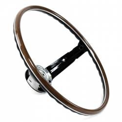 Steering Wheel & Related - Steering Wheels - All Classic Parts - 1968 Mustang 2-Spoke Deluxe Woodgrain Steering Wheel, Black