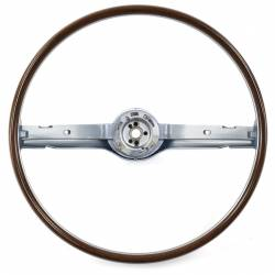 Steering Wheel & Related - Steering Wheels - All Classic Parts - 1968 Mustang 2-Spoke Deluxe Woodgrain Steering Wheel, Blue
