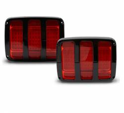 Eddie Motor Sports - 64-66 Mustang Billet Tail Light Bezel and LED Light Kit, Gloss Black