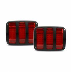 Eddie Motor Sports - 64-66 Mustang Billet Tail Light Bezel and LED Light Kit, Matte Black
