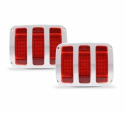 Electrical & Lighting - Tail Lights - Eddie Motor Sports - 64-66 Mustang Billet Tail Light Bezel and LED Light Kit, Matte Silver