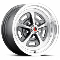65 - 73 Mustang 15 X 7 Magnum Alloy Wheel, Charcoal / Machined Finish